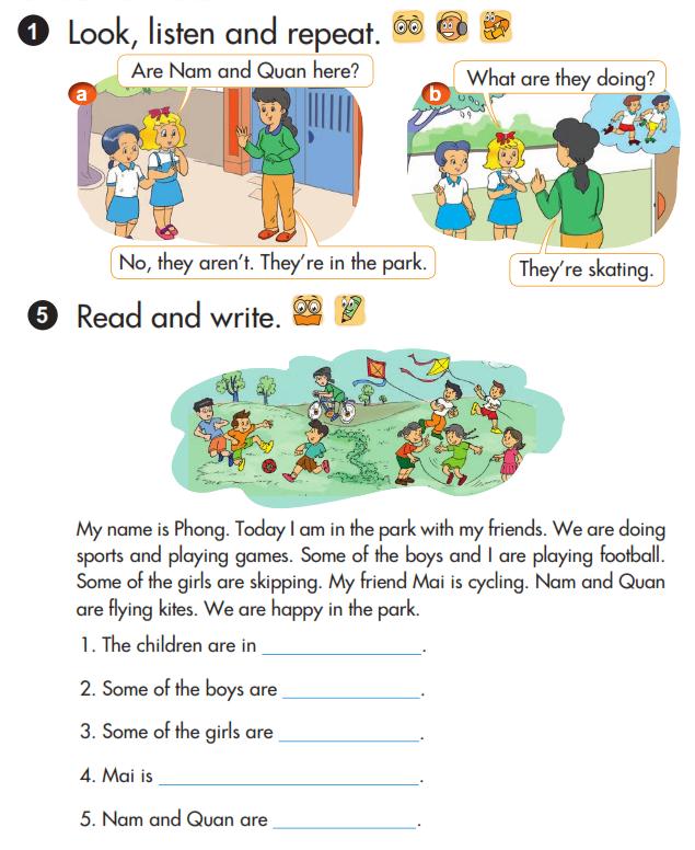 Giải chi tiết bài tập sách giáo khoa tiếng Anh lớp 3 unit 19